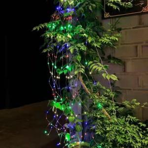 2 X Multicolour 200 LED Solar Waterfall Firefly Lights Garden Christmas Decor