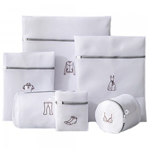 6Pcs White Laundry Bags Embroidery Pattern Washing Machine Travel Clother Bags