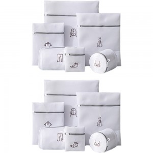 12Pcs White Laundry Bags Embroidery Pattern Washing Machine Travel Clother Bags