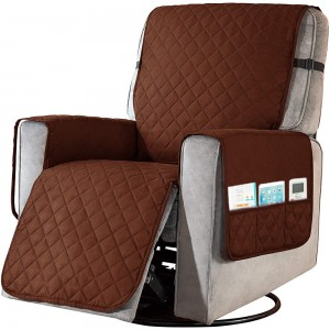 L Coffee Recliner Chair Cover Sofa Slipcover with Non Slip Strap Couch Protector with Side Pocket