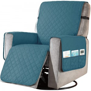 L Cyan Recliner Chair Cover Sofa Slipcover with Non Slip Strap Couch Protector with Side Pocket