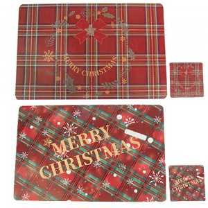 2X Style 2 + 3 Placemats Cup Mug Wine Glass Pads Christmas Table Mats Xmas Decor