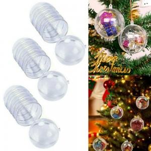 30 X 3CM DIY Fillable Christmas Ball Plastic Clear Xmas Tree Decor Ornament