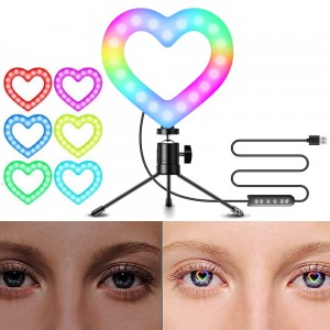 Multicolour Heart Shaped Ring Lamp Makeup Light Tripod for Video Conference Zoom