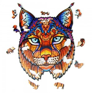 Lynx Animal Shape Wooden Jigsaw Puzzles Christmas Toy Gift Home Decor