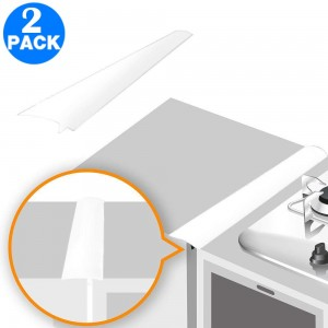 2 Pack Silicone Kitchen Stove Counter Gap Cover White