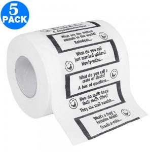 5 X Christmas Creative Joke Printed Toilet Paper Rolls