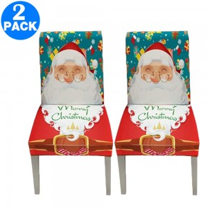 2 X Christmas Stretch Removable Washable Dining Chair Covers Seat Slipcovers Style 1