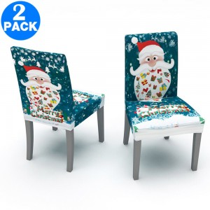 2 X Christmas Stretch Removable Washable Dining Chair Covers Seat Slipcovers Style 3