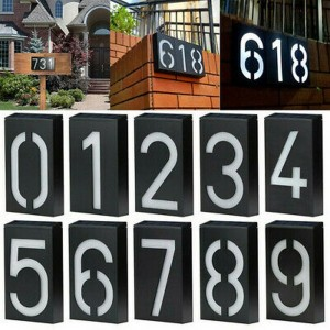 Sign House Number 0 to 9 Solar Powered Wall Mount LED Lights