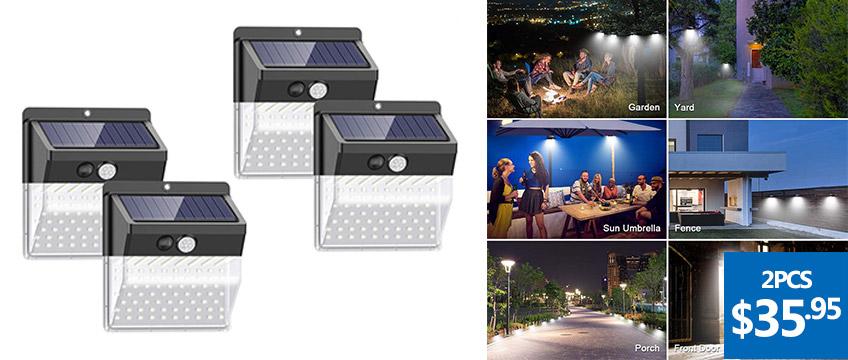 136 LEDs 3 Modes Motion Sensor Solar Powered Lights