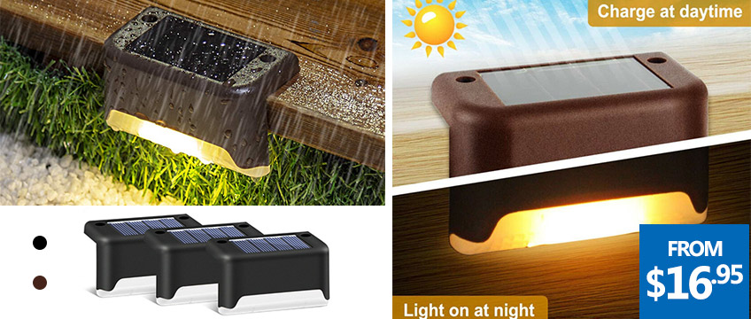 4/8/12/16Pack of Solar Deck Step Lights